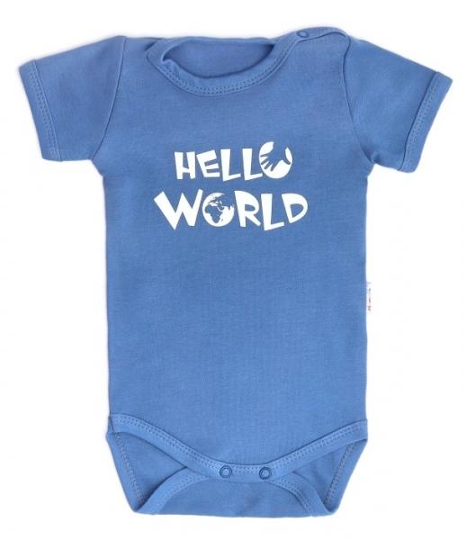Dojčenské body krátky rukáv World - modré, veľ. 74