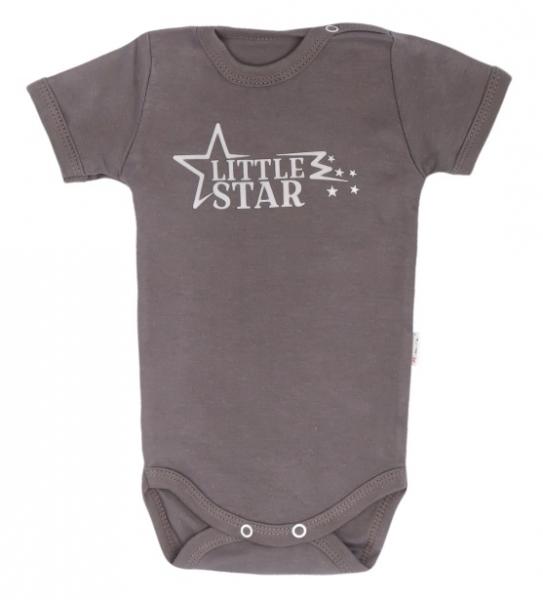 Mamatti Dojčenské body krátky rukáv Star - šedé-68 (4-6m)
