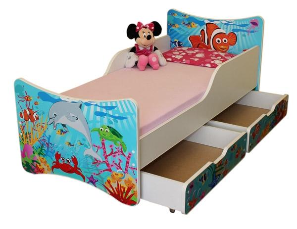 NELLYS Detská posteľ so zábranou a šuplík/y Oceán, 200x80 cm