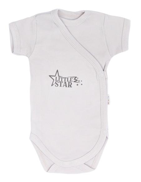Mamatti Dojčenské body krátky rukáv Star - zapínanie, béžové