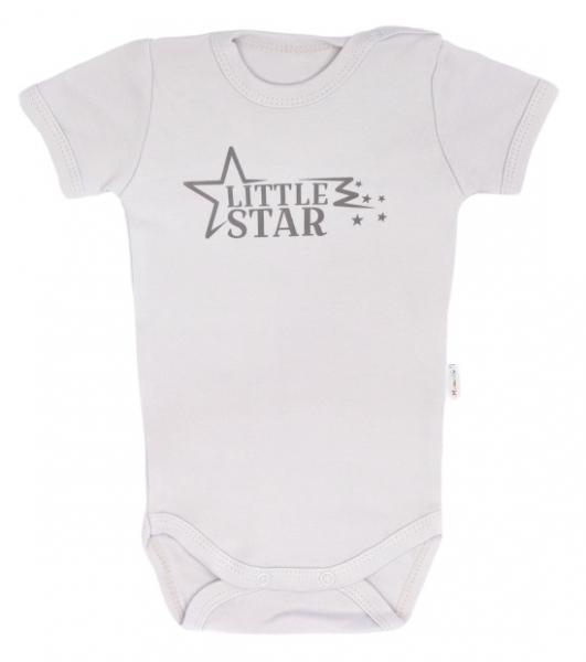 Mamatti Dojčenské body krátky rukáv Star - béžové, veľ. 74-74 (6-9m)
