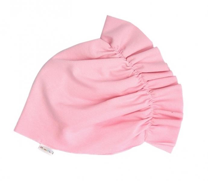 Mamatti Bavlnená detská čiapka - turban svetlo ružový-0-1rok