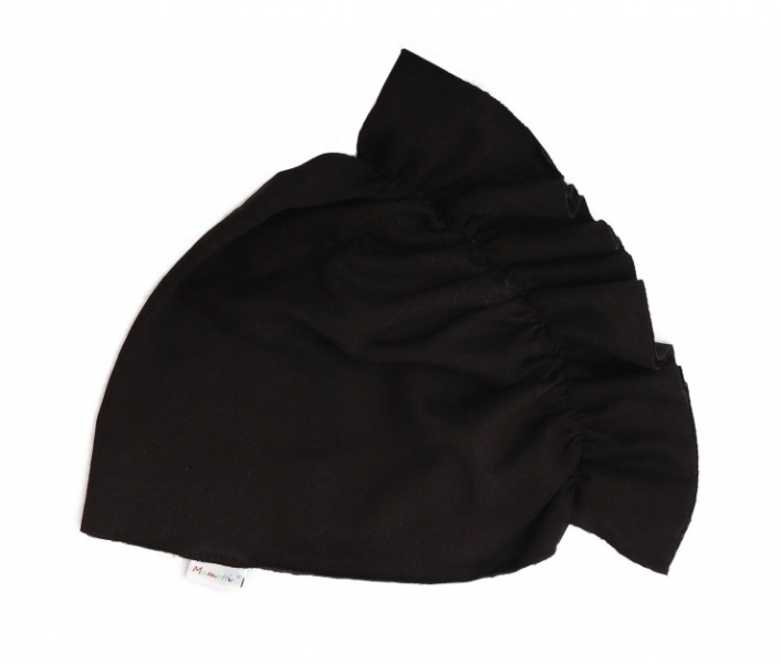Mamatti Bavlnená detská čiapka - turban, čierný