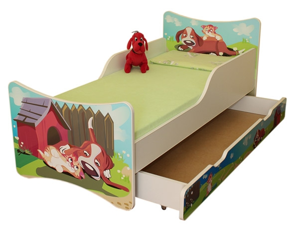 NELLYS Detská posteľ so zábranou a šuplík/y Psík a mačička, 160x90 cm