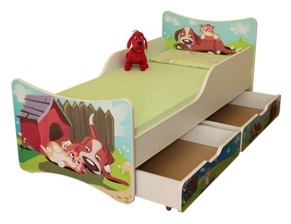 NELLYS Detská posteľ so zábranou a šuplík/y Psík a mačička, 200x90 cm