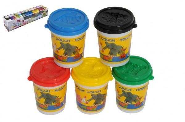 Plastelína / Plastelína v tégliku 5ks mix farieb v krabičke 40x8x8cm