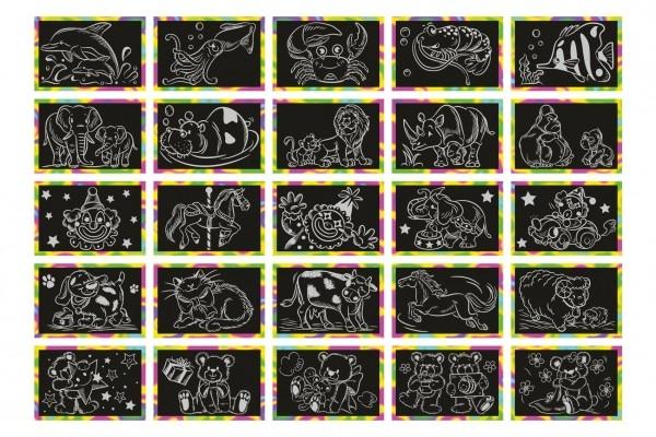Škrabacie obrázok dúhový 15x10cm na karte - ruzne obrázky
