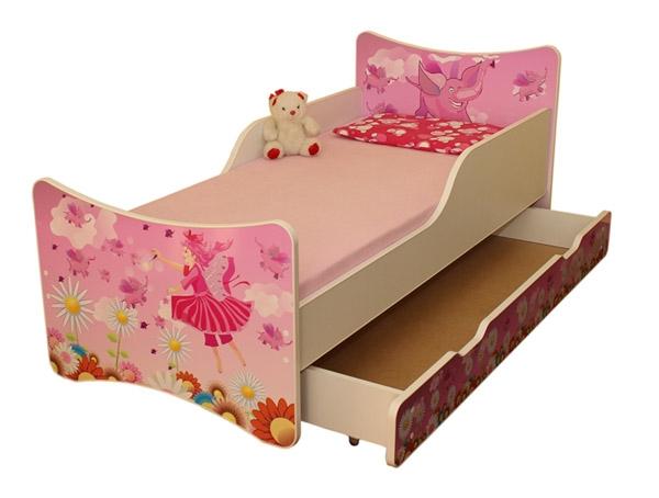 NELLYS Detská posteľ so zábranou a šuplík/y Víla, 160x90 cm