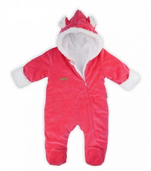 Dojčenský overal / kombinéza Nicol s kapucňou, oteplenie, Girl - růžový, veľ. 68