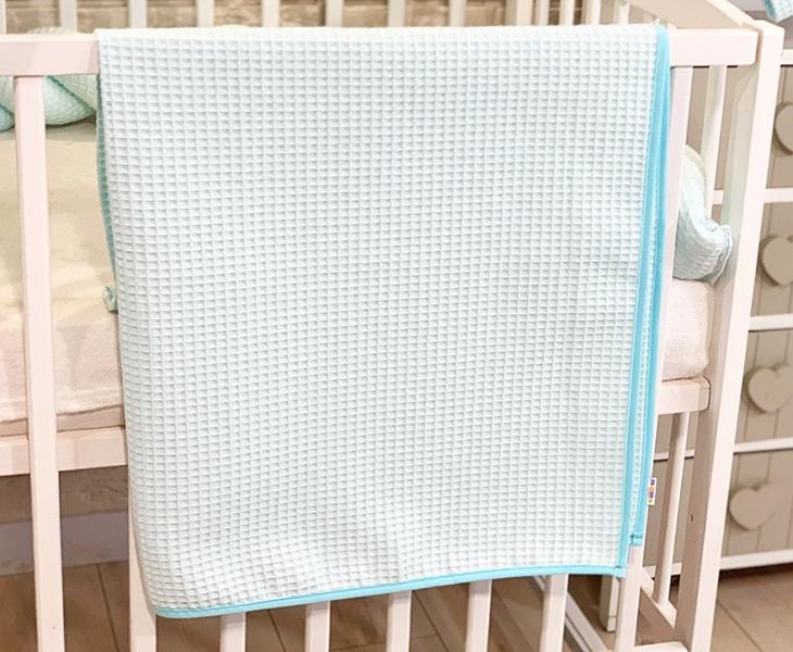 BABY NELLYS Deka 90 x 90 cm - vaflová, tyrkysová