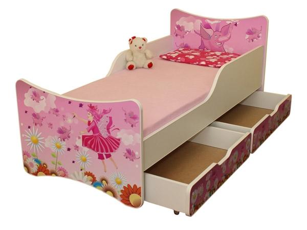 NELLYS Detská posteľ so zábranou a šuplík/y Víla, 200x90 cm