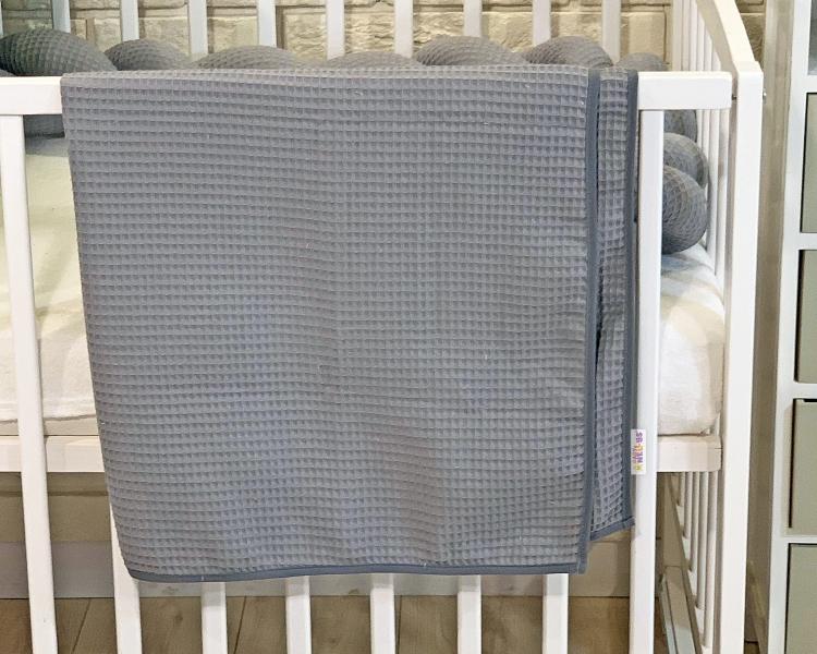 BABY NELLYS Deka 90 x 90 cm - vaflová, šedá