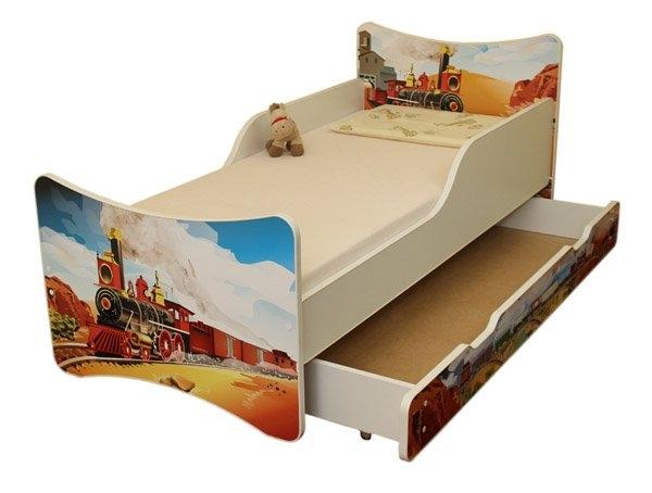 NELLYS Detská posteľ so zábranou a šuplík/y Vlak