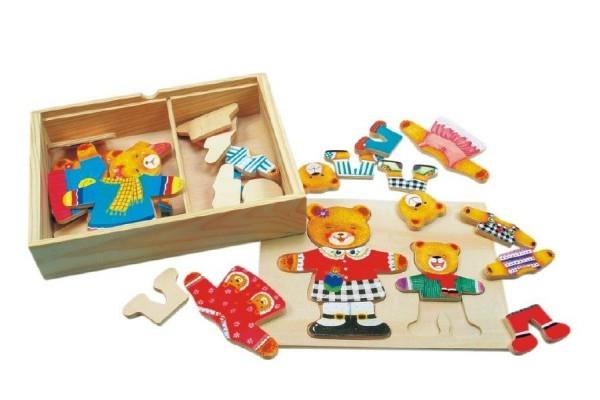 Puzzle Šatník medvede drevo farebný v krabici 19x14x4cm