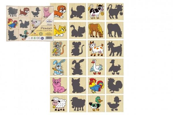 Pexeso zvieratká a ich tiene drevo spoločenská hra 12ks v krabičke 16,5x12,5x1,5cm