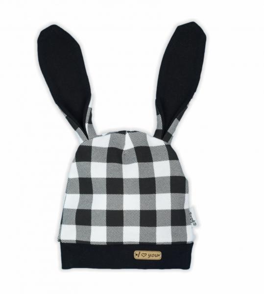 NICOL Dojčenská čiapka Bunny karko - čiernobiela, veľ. 80-80 (9-12m)