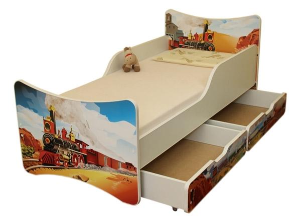 NELLYS Detská posteľ so zábranou a šuplík/y Vlak, 200x90 cm