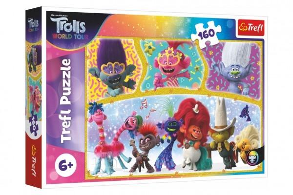 Puzzle Trolls world tour Šťastný svet Trollov 41x27,5cm 160 dielikov v krabici 29x19x4cm