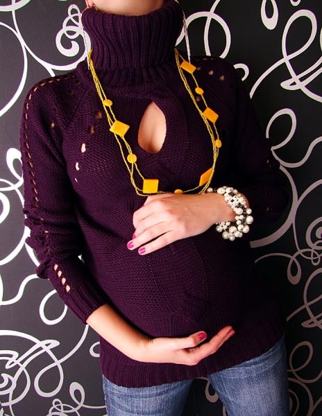 Tehotenská tunika s roláčikom LENKA - fialová