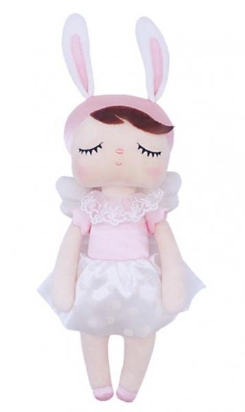 Handrová bábika Metoo Anjelik v kvetované sukničce - ružová