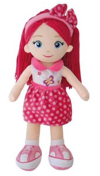 Smily Play, Handrová bábika s ružovými vláskami, 38 cm