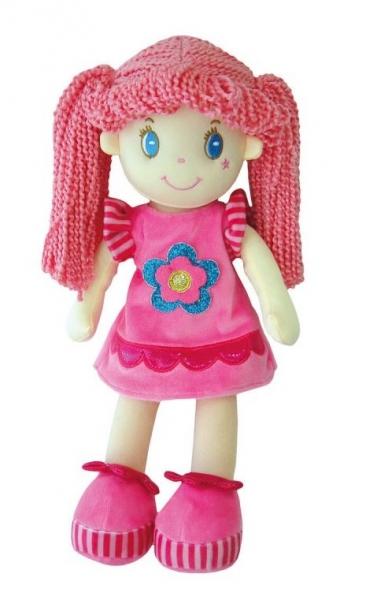Smily Play, Handrová bábika s růžovými vláskami, 35 cm