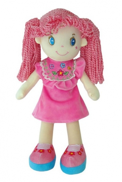 Smily Play, Handrová bábika s ružovými vláskami, 35 cm