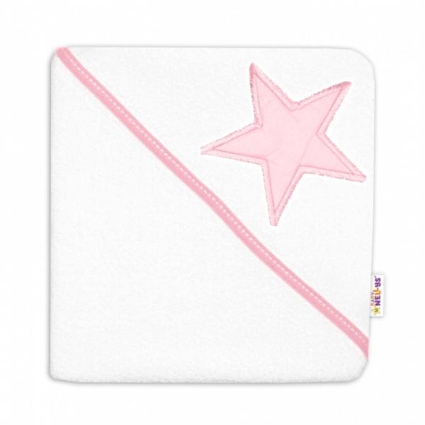 Detská termoosuška Baby Stars s kapucňou, 80 x 80 cm - biela, růžová výšivka