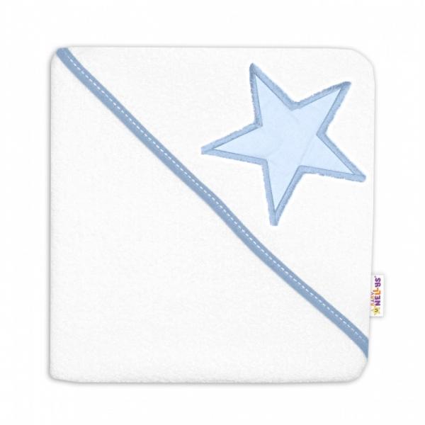 Detská termoosuška Baby Stars s kapucňou, 80 x 80 cm - biela, modrá výšivka