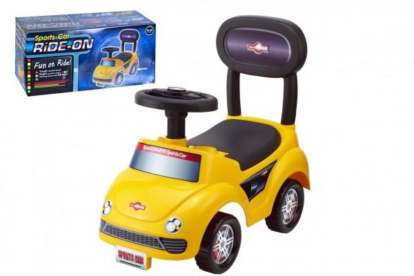 Odrážadlo auto plast žlté výška sedadla 20cm v krabici 48x23,5x22,5cm 12-35