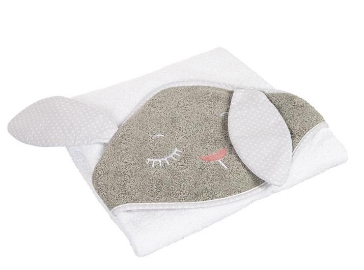 Canpol Babies Mäkká osuška s kapucňou 100x100cm - Králíček bielo/šedá