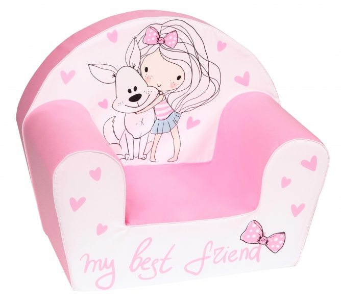 Delsit Detské kresielko, pohovka - Dievčatko s psíkom, svetlo ružové