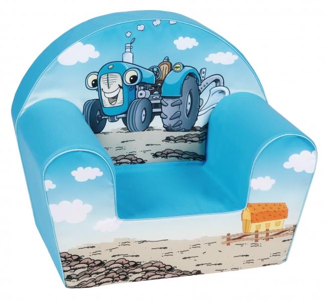 Delsit Detské kresielko, pohovka - Traktor, svetlo modrý