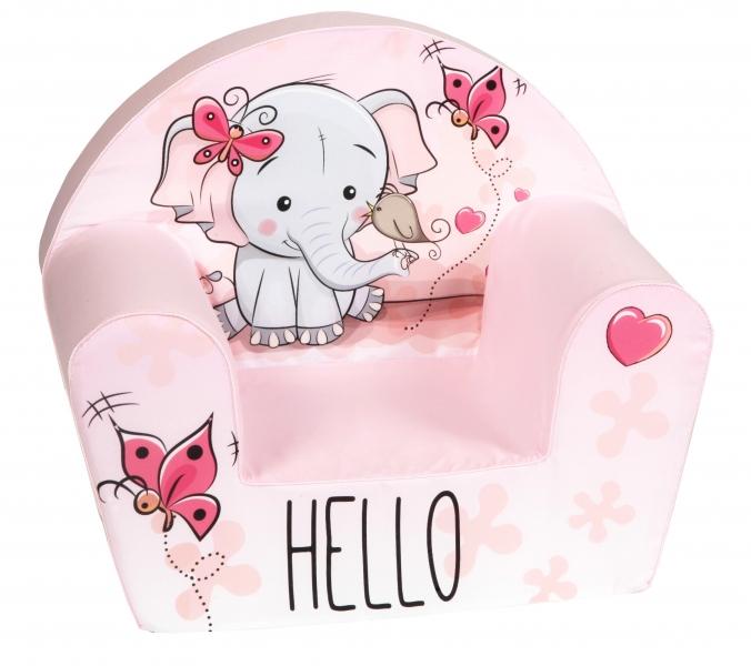 Delsit Detské kresielko, pohovka - Slon Hello, světle ružové
