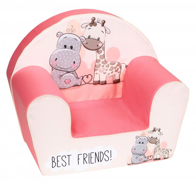 Delsit Detské kresielko, pohovka - Hippo s žirafkou, ružové