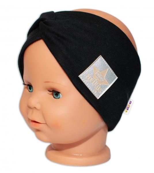 Baby Nellys Hand Made Jarná bavlnená čelenka - dvojvrstvová, čierna, 44-48 cm