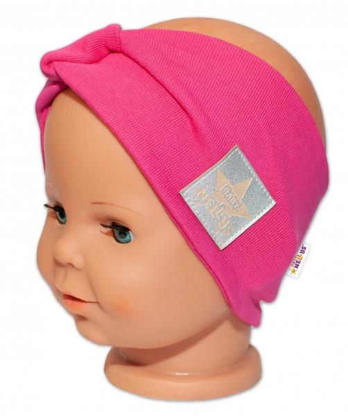 Baby Nellys Hand Made Jarná bavlnená čelenka - dvojvrstvová, tm. růžová, 44-48 cm-3-7 let