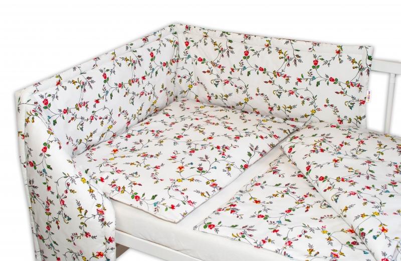 Baby Nellys 3-dielna sada Mantinel s obliečkami - lúčne kvietky, biela, roz. 135x100 cm-135x100