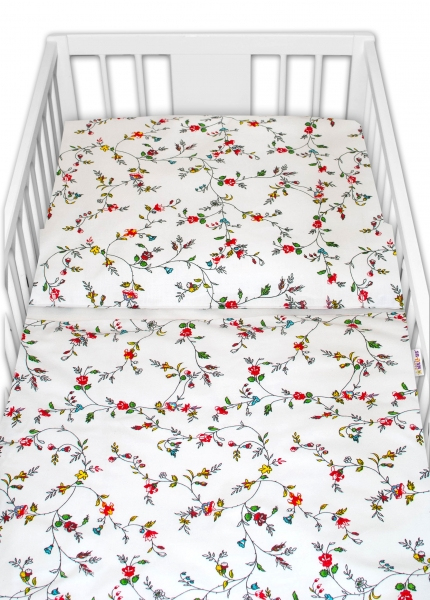 Baby Nellys 2 - dielne bavlnené obliečky - Lučné kvietky, biele, roz. 135x100cm