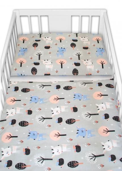 Baby Nellys 2 - dielne bavlnené obliečky - Srnečci, sivé