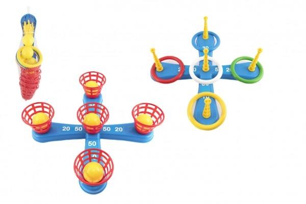 Hádzacie hra plast kríž s kruhmi + košíčkami s loptičkami v sieťke