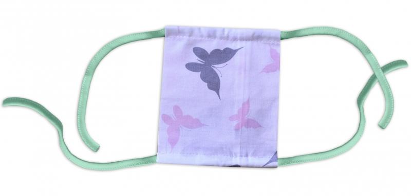 Detská bavlnená rúška, dvojvrstvová s vreckom - dievčenské motívy