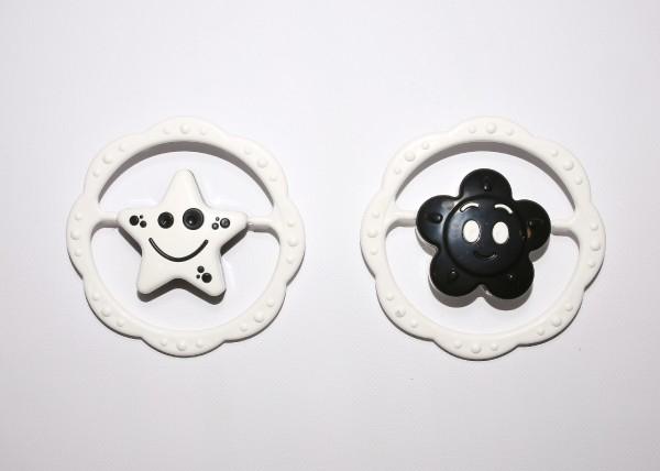 Hrkálka plast kruh 12cm 2 druhy čiernobiele v sáčku 0m +