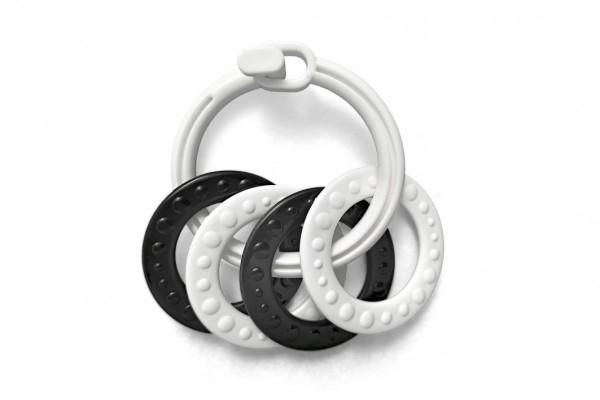 Krúžky sa 4 tvary plast čiernobiele 2 druhy v sáčku 0m +