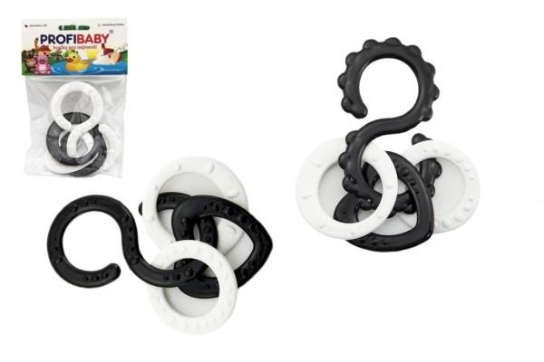 Osmičky s prívesky plast čiernobiele 10cm 2 druhy v sáčku 0m +