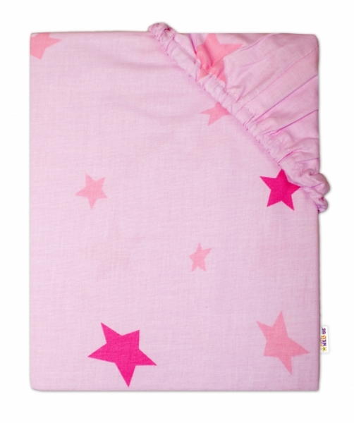 Baby Nellys Detské bavlnené prestieradlo do ohrádky, 90x90cm - Hviezdy ružové