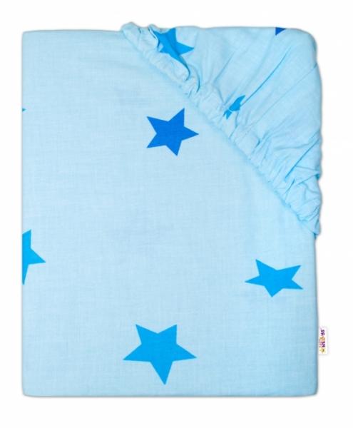 Baby Nellys Detské bavlnené prestieradlo do ohrádky, 90x90cm - Hviezdy modré