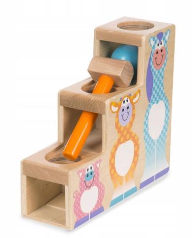 Melissa & Doug Drevená hračka, zatĺkačka s kladivkom - schodíky