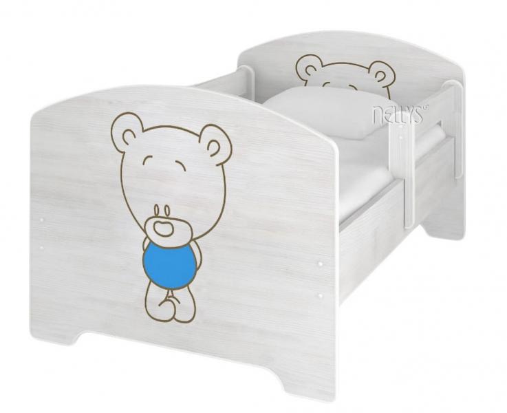 NELLYS Detská posteľ BABY BEAR modrý vo farbe nórskej borovice + matrac zadarmo