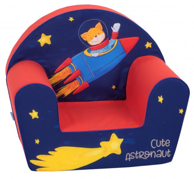 Delsit Detské kresielko, pohovka - Astronaut, modrá, červená